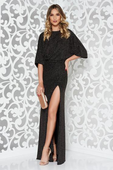 Fekete alkalmi szirén tipusú ruha belső béléssel kivágott hátrész