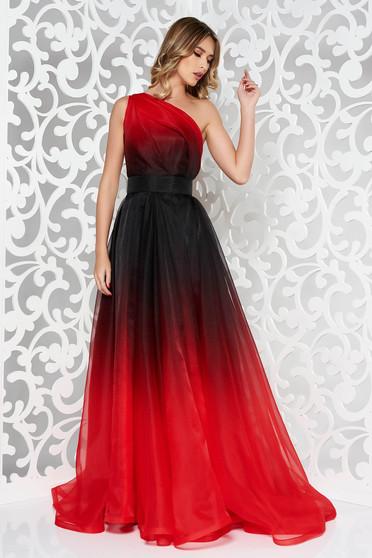 Piros Ana Radu hosszú egy vállas harang ruha belső béléssel övvel ellátva