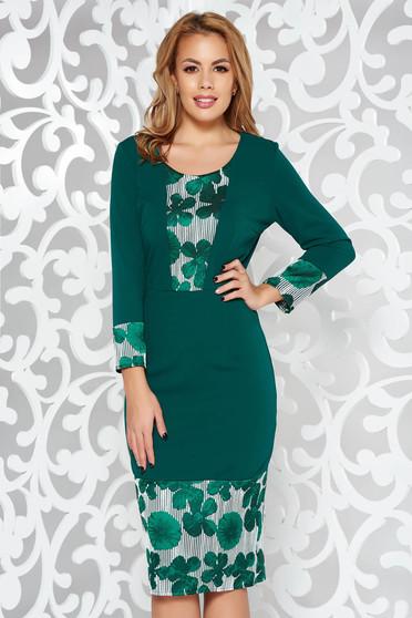 Zöld elegáns ceruza ruha háromnegyedes ujjú enyhén rugalmas anyag