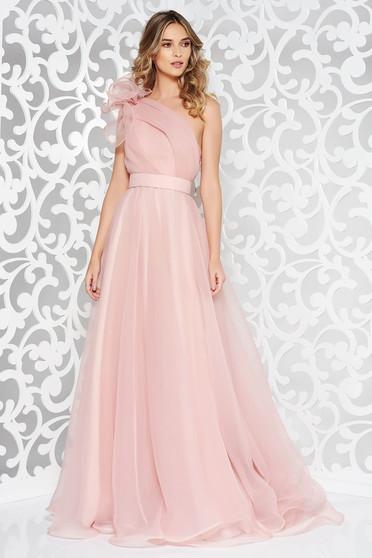 Világos rózsaszínű Ana Radu luxus egy vállas deréktól bővülő szabású ruha béléssel övvel ellátva