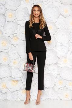 Fekete elegáns két részes női kosztüm nadrággal enyhén elasztikus szövet