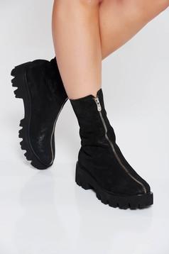 Fekete casual bakancs cipzárral zárható