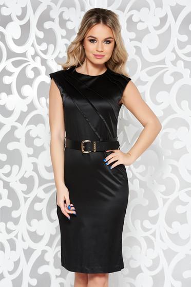 51fb0d35c1 Fekete elegáns midi ruha enyhén elasztikus pamut öv típusú kiegészítővel