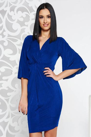 Kék StarShinerS alkalmi midi ruha rugalmas anyag v-dekoltázzsal harang ujjakkal