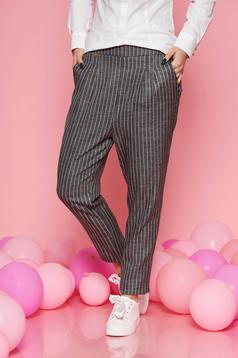 Rózsaszínű Fofy irodai magas derekú kónikus nadrág rugalmatlan szövet zsebes
