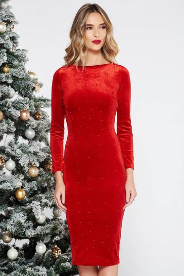 Piros Artista alkalmi midi bársony ruha szűk szabás gyöngyös díszítés
