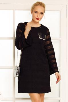 Fekete Fofy elegáns ruha egyenes szabás kötött anyag bő ujjakkal