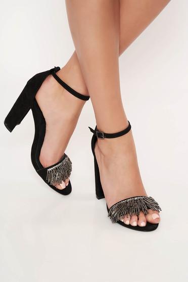 Fekete Top Secret elegáns cipő állítható pántokkal bársonyos anyag gyöngyös díszítéssel