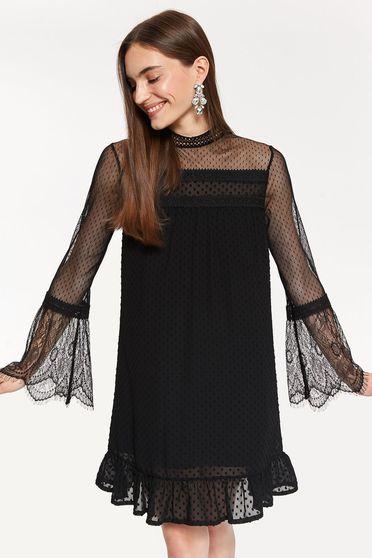 fc8edf57aa Fekete Top Secret alkalmi hosszú ujjú tüll ruha egyenes szabás csipke  díszítéssel