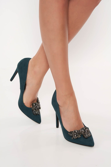 Zöld Top Secret elegáns cipő műbőr enyhén hegyes orral gyöngyös díszítéssel