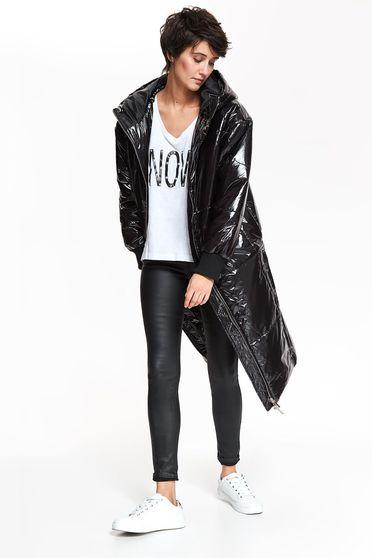 Fekete Top Secret casual dzseki fényes anyag egyenes szabás a kapucni nem távolítható el