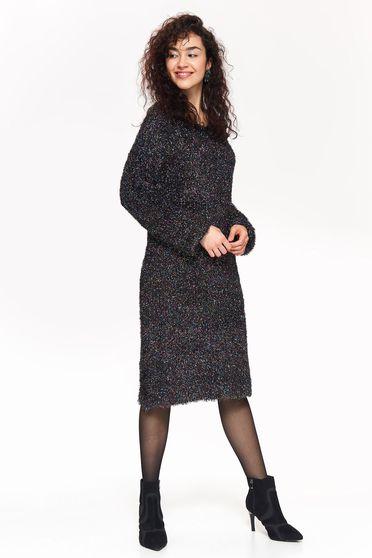 Fekete Top Secret casual bő szabású pulóver kötött anyag hosszú ujjak