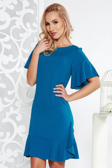 Türkiz elegáns egyenes ruha enyhén elasztikus szövet belső béléssel fodrok a ruha alján