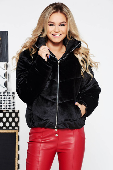 Fekete casual dzseki bársonyos anyag belső béléssel zsebes