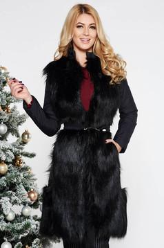 Fekete LaDonna vízhatlan dzseki belső béléssel műszőrme díszítés övvel ellátva
