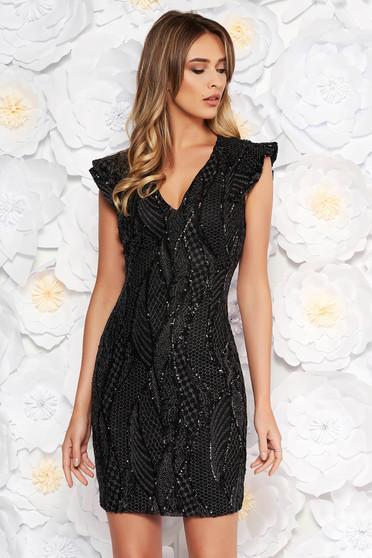 93bc2e4bb6 Fekete Artista alkalmi flitter ruha belső béléssel v-dekoltázzsal szűk  szabás. Termék kód: S-041189-1