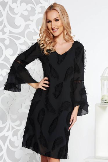Fekete elegáns bő szabású ruha fátyol anyag belső béléssel harang ujjakkal