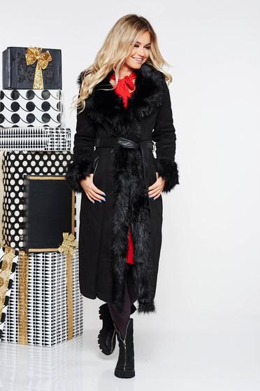 823267b059 Fekete SunShine szintetikus fordított bőr dzseki egyenes szabás zsebes  övvel ellátva bundabélessel ellátva