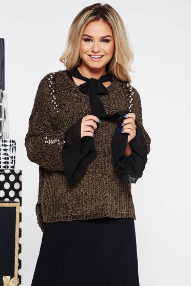 Kaki SunShine casual bő szabású pulóver kötött anyag bársonyos anyag gyöngy díszítéssel
