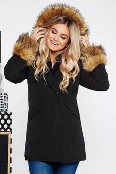 Fekete SunShine casual dzseki zsebes vízhatlan belső béléssel műszőrme díszítés