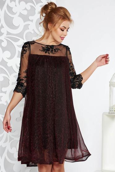 ca4bfb8076 Burgundy Artista alkalmi bő szabású ruha vékony anyag belső béléssel csipke  ujj lamé szál