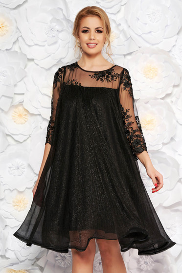 edbd650de1 Fekete Artista alkalmi bő szabású ruha vékony anyag belső béléssel csipke  ujj lamé szál