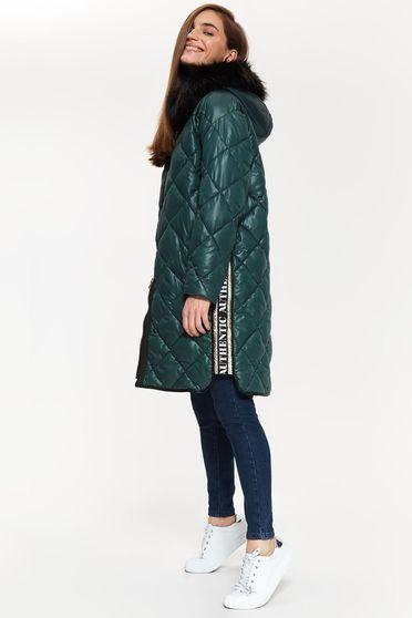 Zöld Top Secret vízhatlan dzseki hosszú ujjú bő szabású műszőrme díszítéssel
