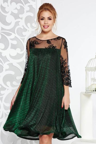 cc519435ce Zöld Artista alkalmi bő szabású ruha vékony anyag belső béléssel csipke ujj lamé  szál