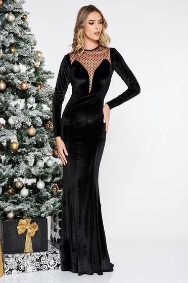 Fekete alkalmi hosszú bársony ruha szirén tipusú hosszú ujjakkal