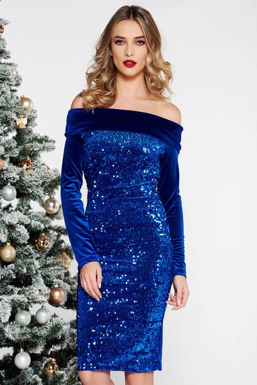 Kék Artista alkalmi bársony flitter ruha szűk szabás a vállakon