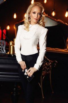 Fehér Fofy elegáns női ing szűk szabás enyhén elasztikus pamut csipke díszítéssel