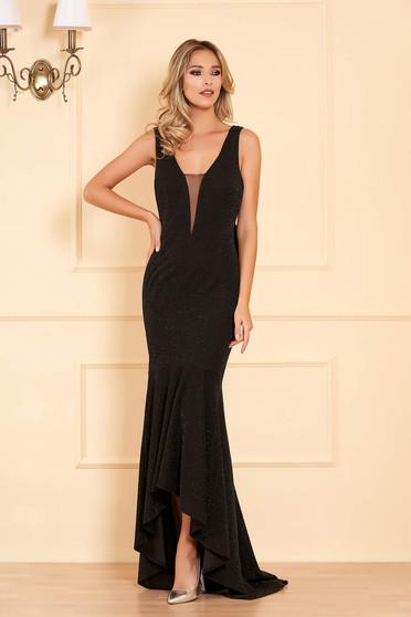 Fekete Artista alkalmi ruha enyhén rugalmas anyagból szivacsos mellrésszel és fodrokkal a ruha alján