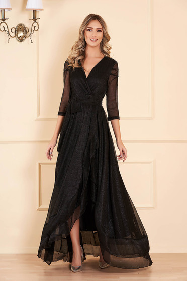 Fekete Artista alkalmi ruha fényes anyagból lamé szállal béléssel és övvel ellátva