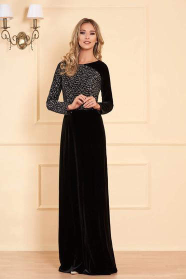 Fekete alkalmi flitteres hosszú harang ruha bársonyból