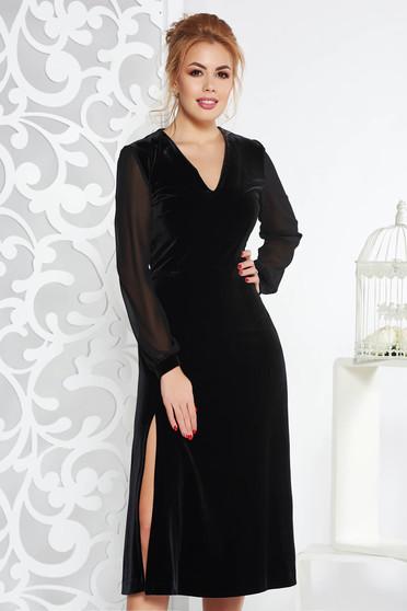 Fekete alkalmi bársony harang ruha belső béléssel fátyol újjakkal