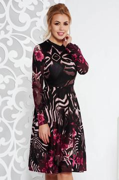Fekete StarShinerS hétköznapi midi harang ruha kötött anyag hosszú ujjakkal