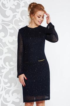 Sötétkék Fofy elegáns ruha egyenes szabás kötött anyag belső béléssel flitteres díszítés