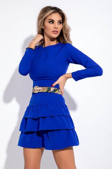Kék party ruha enyhén elasztikus szövet szűk szabás öv típusú kiegészítővel