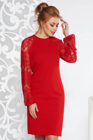 Piros StarShinerS elegáns bő szabású midi ruha enyhén rugalmas anyag csipke ujjakkal
