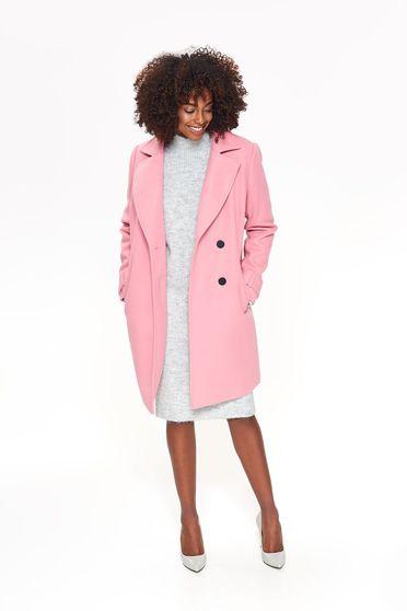 Pink Top Secret casual egyenes nagykabát rugalmatlan szövet zsebekkel