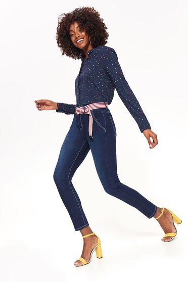 Kék Top Secret skinny farmer enyhén elasztikus pamut normál derekú zsebekkel öv típusú kiegészítővel