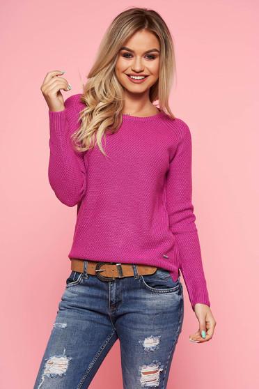 Lila Top Secret casual pulóver szűk szabású kötött anyag hosszú ujjak