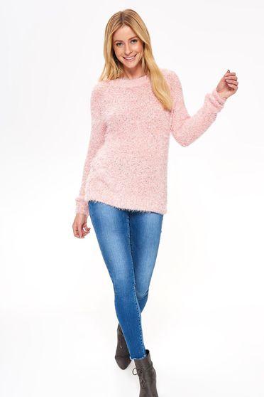 Pink Top Secret casual bő szabású pulóver puffos anyag hosszú ujjakkal