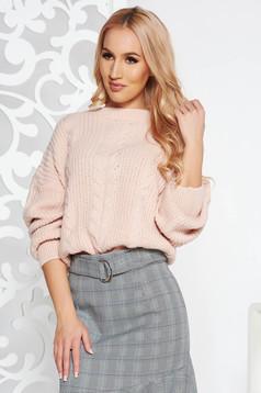 Rózsaszínű rövid casual bő szabású pulóver kötött anyag