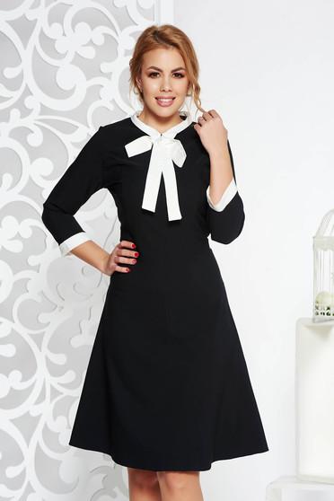 Fekete irodai midi ruha vékony, rugalmas szövet