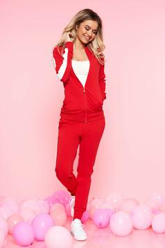 Piros sportos szett enyhén elasztikus pamut szűk szabású középmagas és gumírozott derekú