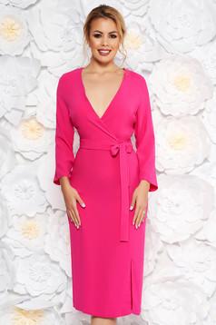Pink StarShinerS elegáns ruha v-dekoltázzsal nem rugalmas anyag övvel ellátva