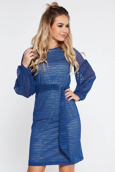 Kék StarShinerS hétköznapi ruha béléssel övvel ellátva
