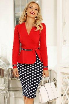 Piros Fofy irodai női ing szűk szabás enyhén elasztikus pamut övvel ellátva
