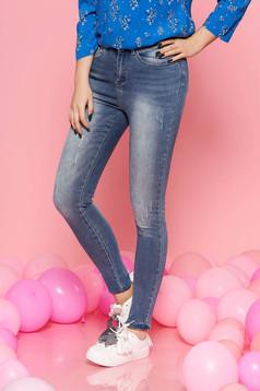 Kék Top Secret casual nadrág enyhén elasztikus pamut szűk szabás